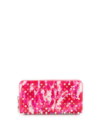 Panettone Spiked Marble-Print Zip Wallet, Multi Pink