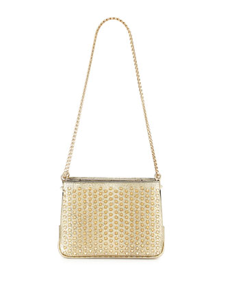 Triloubi Small Triple-Gusset Spiked Shoulder Bag, Gold