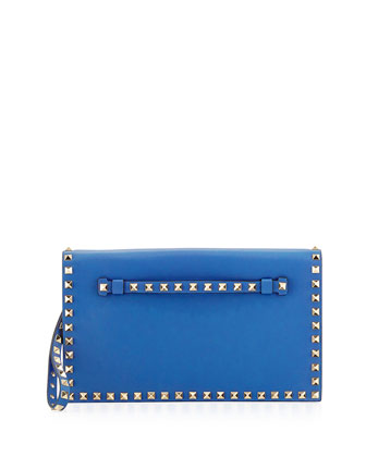 Rockstud Flap Wristlet Clutch Bag, Light Sapphire
