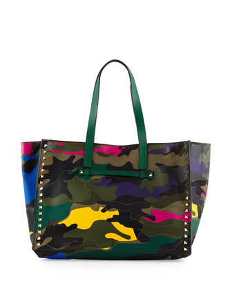 Psychedelic Camo Large Tote Bag, Green Multi