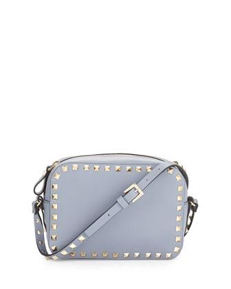 Rockstud Camera Small Leather Bag, Blue-Gray