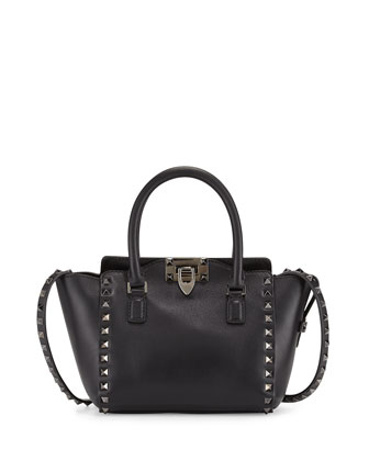 Rockstud Small Leather Tote Bag, Black