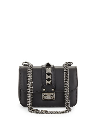 Lock Half-Flap Small Shoulder Bag, Black