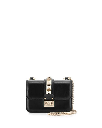 Lock Micro Calf Leather Mini Shoulder Bag, Black