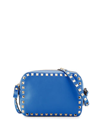 Rockstud Camera Small Leather Bag, Light Sapphire