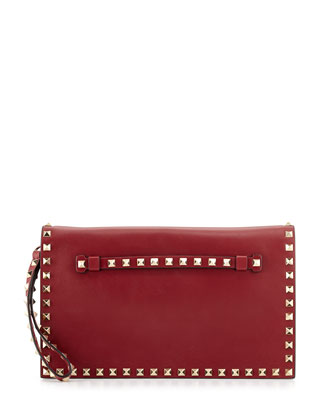 Rockstud Flap Wristlet Clutch Bag, Scarlet
