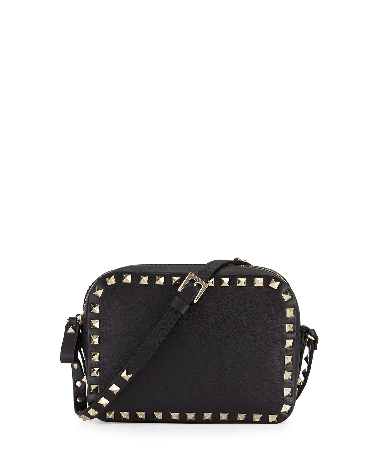 Red Valentino Rockstud Camera Small Leather Crossbody Bag, Black, Size: S
