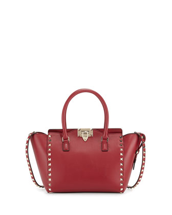 Rockstud Small Leather Shopper Tote Bag, Scarlet