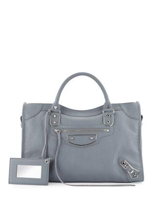 Metallic Edge Nickel City Bag, Ice Blue