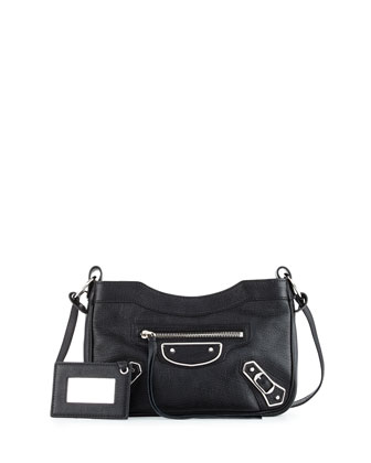 Metallic Edge Nickel AJ Crossbody Bag, Black
