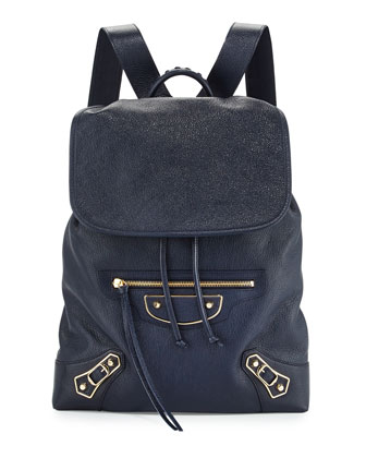 Metallic Edge Goatskin Backpack, Royal Blue