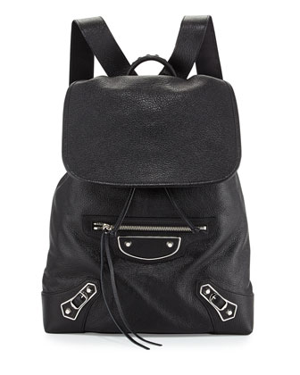 Metallic Edge Nickel Goatskin Backpack, Black