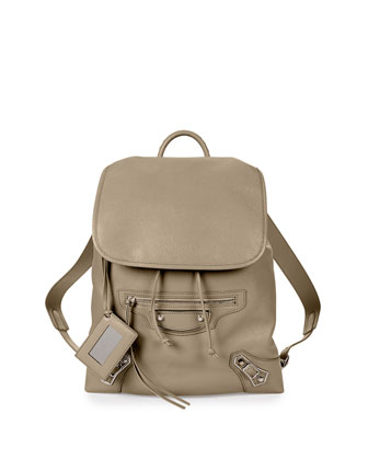 Metallic Edge Goatskin Backpack, Taupe