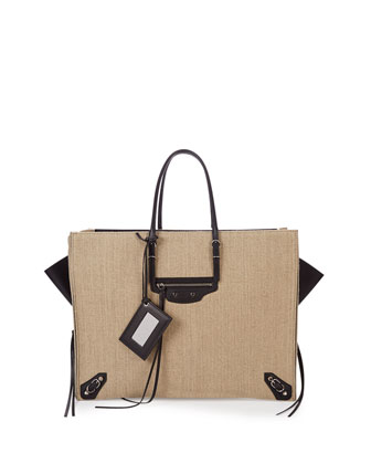 Papier A4 Zip-Around Linen Tote Bag, Beige/Black