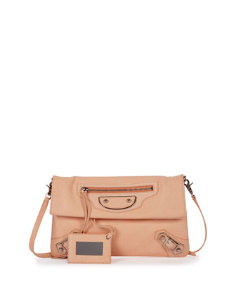 Metallic Edge Envelope Crossbody Bag, Salmon