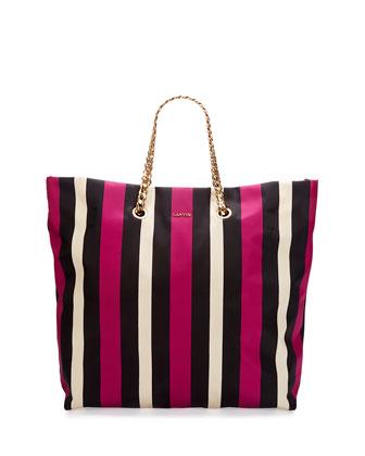 Sugar Medium Striped Nylon Tote Bag, Black/White/Fuchsia