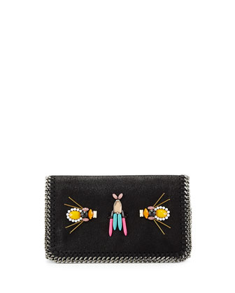 Falabella Beaded Embroidered Crossbody Bag, Black