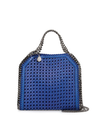 Falabella Mini Wicker Tote Bag, Cobalt
