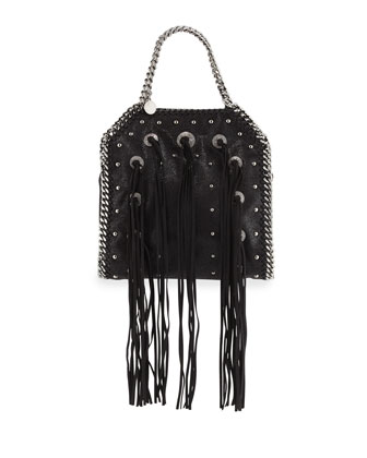 Falabella Mini Conchos Fringe Tote Bag, Black