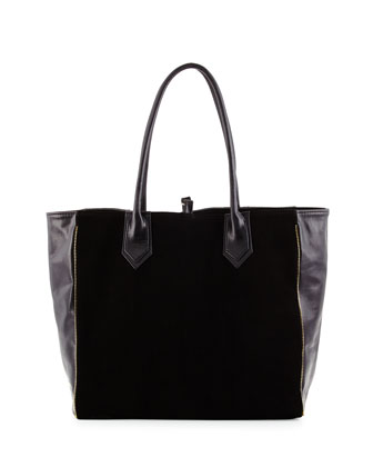 Reese Leather Combo Tote Bag, Black