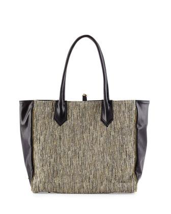 Reese Tweed & Leather Tote Bag, Ivory/Black
