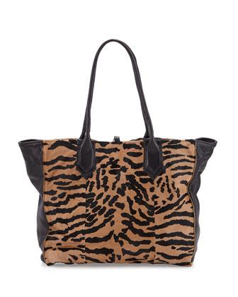 Reese Leather & Calf Hair Tote Bag, Camel/Black