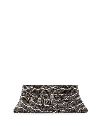 Louise Snake-Embossed Leather Clutch Bag, Black/Cream