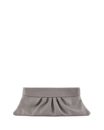 Louise Snake-Embossed Leather Clutch Bag, Gray