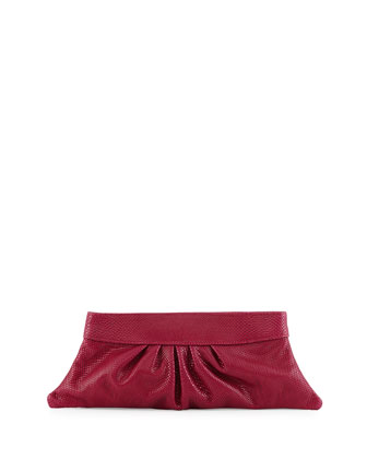 Louise Snake-Embossed Leather Clutch Bag, Peony