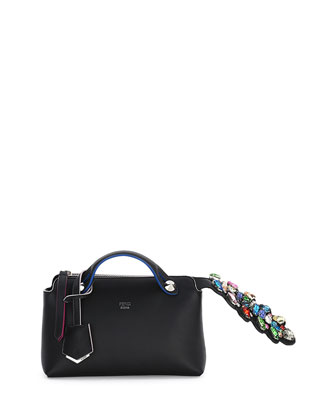 By The Way Mini Crystal-Croc-Tail Satchel Bag, Black Multi