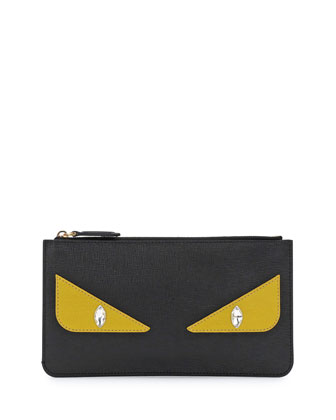 Monster Eye Leather Pouch Bag, Black