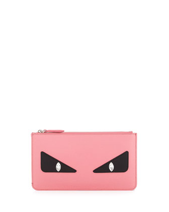 Monster Eye Leather Pouch Bag, Pink