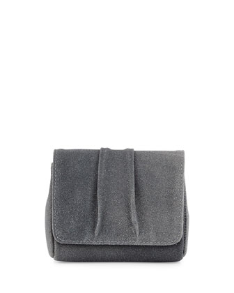 Mini Caroline Stingray-Embossed Leather Clutch Bag, Gray