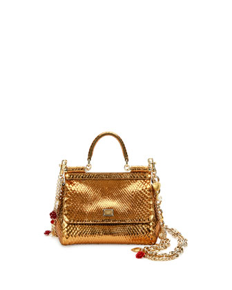 Miss Sicily Small Metallic Python Satchel Bag, Gold