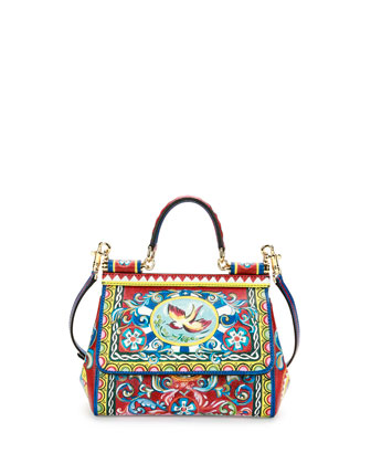 Miss Sicily Small Painted Bird Satchel Bag, Multicolor
