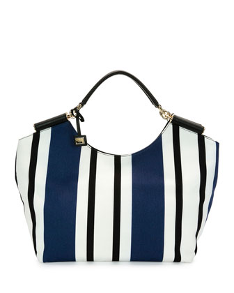 Large Striped Canvas Tote Bag, Blue/White