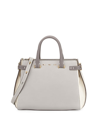 Boulevard 28 Tricolor Vitello Leather Satchel Bag, Gray/White
