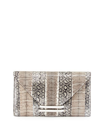 Connor 28 Snake & Ostrich Clutch Bag, Silver Multi