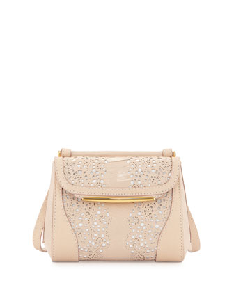 Baton Sling Ostrich Lace Crossbody Bag, Nude