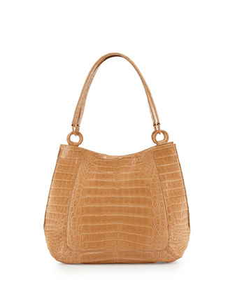 Small Crocodile Hobo Bag, Beige Matte