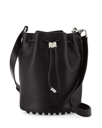 Alpha Leather Bucket Bag, Black