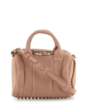 Rockie Calfskin Duffel Satchel Bag, Blush
