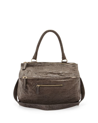 Pandora Medium Leather Satchel Bag, Anthracite