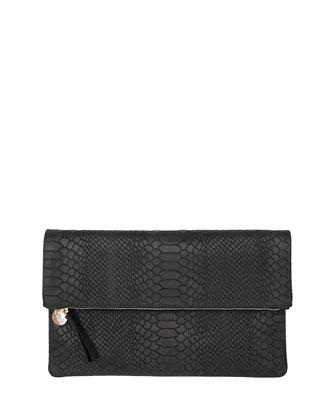 Snake-Embossed Fold-Over Clutch Bag, Black