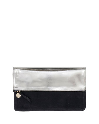 Margot Fold-Over Mirror-Leather/Suede Clutch Bag, Silver/Navy