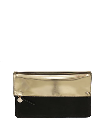 Margot Fold-Over Mirror-Leather/Suede Clutch Bag, Gold/Black