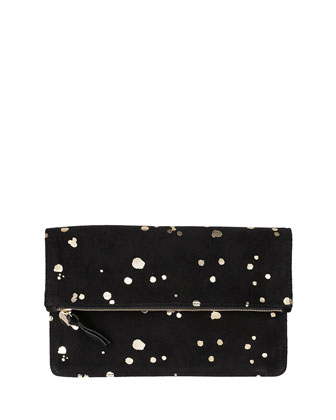 Margot Fold-Over Printed Suede Clutch Bag, Black/Gold