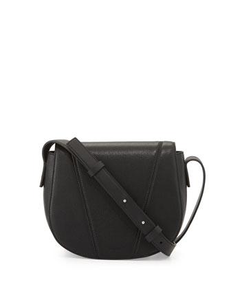 Modern V Small Leather Crossbody Bag, Black