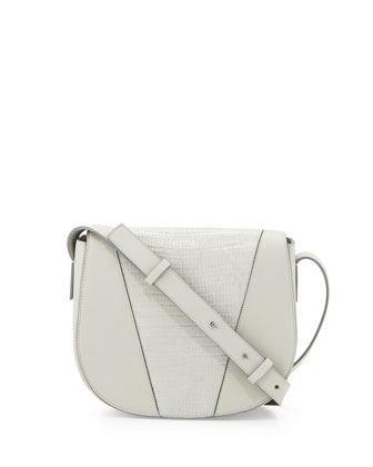 Modern V Small Lizard-Embossed Crossbody Bag, Pearl