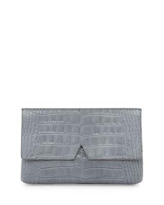 Crocodile-Embossed Medium Clutch Bag, Chambray